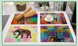 ملون الفيلة ماندالا البوهيمي نمط تحديد الموقع Morder نمط مطبخ أدوات المائدة وسادة لصنع الشاي ومكان حصيرة القطن الكتان عشاء حصيرة