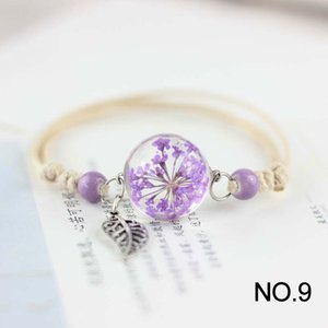 Korean Fashion Bracelets Glass Ball Handmade Dried Flower Bracelet Women Plant Specimens Friends Gift Hand Accessories Jewelry