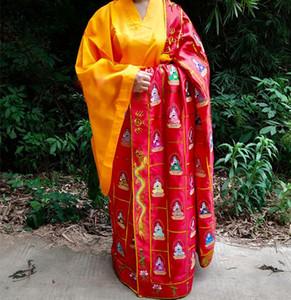 unisex bordados Thousand Buda shaolin budista ternos monge batina kesa robe zen roupas lay