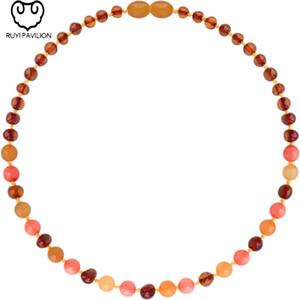 RUYI PAVILON Baltischer Bernstein Halskette Baby-Kind-Armband-handgemachte poliert rosa Edelstein Bernstein Halskette 14CM-32CM