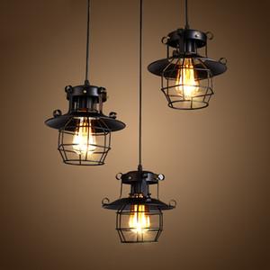 Vintage lumière suspension Lampe industrielle métal lumière plafond Lustre Luminaires Cage Edison Nordic Retro Lamp Loft décoration Accueil
