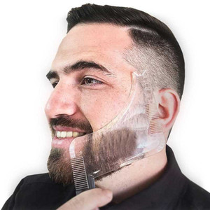 3 Cor Beard Shaper Cabelo Template Homens Beard Shaping ferramenta Double Side Shaving Brush Face Care aparamento Styling Comb