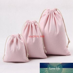 FREE SHIIPPING Pink Canvas Drawstring Bags Cotton Storage Bags Laundry Favor Holder Fashion Jewelry Pouches Gift Bags