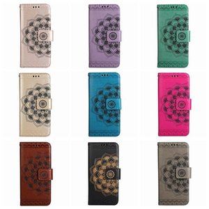 cgjxs Datura Blumen-Leder-Mappen-Kasten für Samsung A70 A50 A30 A10 M10 Huawei P30 Lite Pro Mandala Geprägte Spitze Flip-Cover-Karte Id Luxus