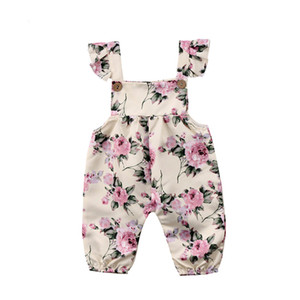 DHgate  new and high quality Infant Baby Girls Sleeveless Floral Print Jumpsuit Romper Outfits Clothes Z0215