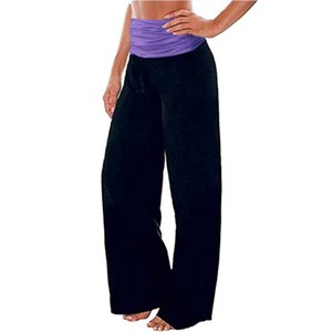 Donne Pantaloni cuciture Largo-piedino pantaloni della tuta pantaloni di yoga 5 Fashion Casual Wear casa Femmina Fiore Point stile di stampa elastico in vita Pantaloni 2020