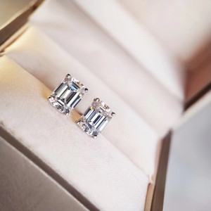 S925 pure silver Luxurious quality stud earring with sparky diamond in square and rectangle shape for women night club wedding jewelry gif