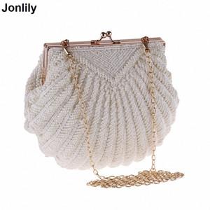 Femmes Pochette de soirée de mariée sac à main perle perlée Fashion Shell Party Chain Sacs LI-383 CX200822