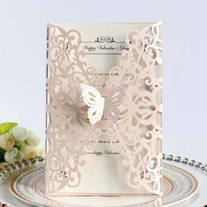 100pcs / set Europäische Art-Hochzeits-Einladungs-Karte Danksagungs-Festival Grußkarte Hohle Hellrosa Postkarte Schmetterling Dekor