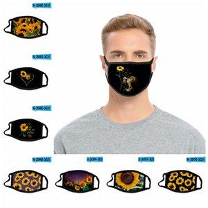 24style Sunflower Mask 3D Digital Gesichtsmasken Drucken elastische Gewebe-Tuch-Mund-Maske Wiederverwendbare Anti Haze staubdichte Abdeckung Mascarilla GGA3688-7