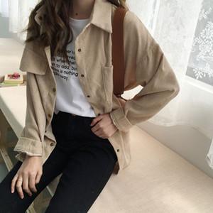 Womens shirt work plus size boyfriend button blouse woman shirts casual long sleeve korean fashion clothing corduroy shirts
