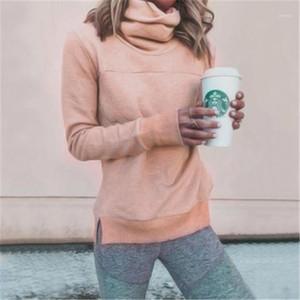 Mangas compridas com capuz Fashion Trend capuz Casual Tops Designer Inverno Feminino soltas gola T-shirt com capuz Mulheres gola alta