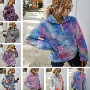 Otoño Invierno Fleece con capucha 1/4 cremallera suéter caliente felpa sudaderas con capucha de la chaqueta abrigos de moda Outwear informal del tinte del lazo de tapas de las mujeres de las muchachas de tela LY903