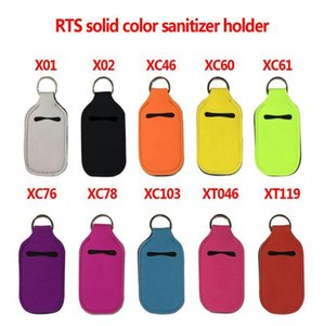 Solid Sanitizer Bottle Holder Neoprene Keyring Bags Blank Perfume Bottle Holder Girls Women Jewelry 55 Styles OEM Available BT5799