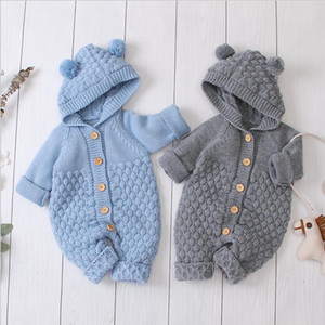 new arrivals Spring Fall Baby & Kids Cloth climbing Solid Color Long Sleeve Design Hooded Romper infant new born rompers 0-2T