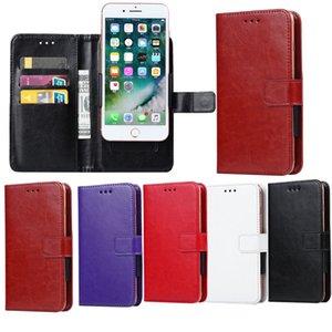 Copertura di vibrazione della carta di credito PU universale Portafoglio in pelle di caso per 4.7 5 5.5 6.3inch slot di telefono cellulare Spingere Caso