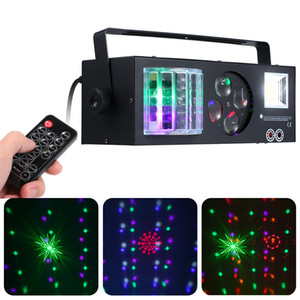 DJ Mostrar 60W 4em1 Pattern Laser Strobe Light Stage Magic Ball com controle remoto Auto-run DMX512 som ativado para o partido Disco