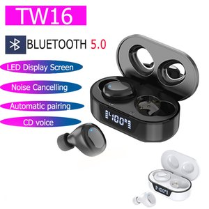 TW16 TWS Bluetooth Earphones Earbuds Automatic pairing Sport Streo Music Wireless Headphone Earsets With LED Charging Display Touch COntrol