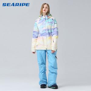 SEARIPE New hot women white ski suit female waterproof snowboarding set women skiwear white ski jacket and pants suit