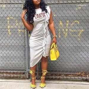 Лето Причинны колена Платье Letters Печать Асимметричный Женщина Платье O-образный вырез без рукавов Sexy Тощего платье Женщины