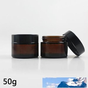 50ML Refillable Amber Glass Facial Cream Sample Empty Jar Containers 50Gram Brown Makeup Face Cream Bottle Packaging With White Inner Lid