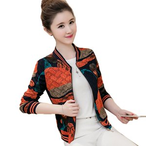2020 Spring New Coat Women's Long Sleeve Stand Collar Zipper Printed Short Jacket Outerwear Fashion Female Baseball Uniform A208
