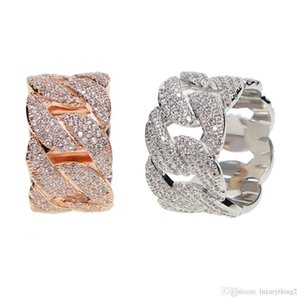 US SIZE 9,10 new arrive design gold filled Real micro pave bling cz Cuban link chain design unique hip hop bling mens ring