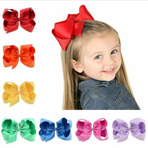 Kinder-Mädchen Big Bow Hairpin Kinder Große Haarnadel fester Band-Haar-Bogen-Klipps-Haar-Accessoires 6 Zoll 30 Farben BT5734