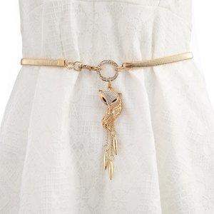 Women's waist chain large size elastic thin belt with skirt elastic decorative all-match waist diamond Dress dress skirt Silver