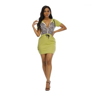 Тонкое платье Мода Leopard печать Vneck Hoodie платье Bodycon с молнией Женской одежды Sexy конструктора Womens