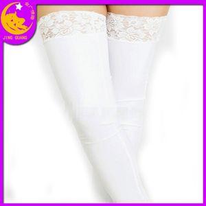 38bXP calzini in vernice vestiti stretti incollati calze elastiche pizzo nero-bordo calzini sexy della regina del pizzo abbigliamento giocattoli del sesso in pelle regina