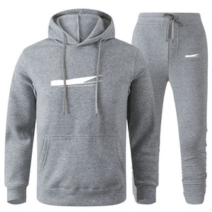 Homens Designer Hoodies Calças Set Capuz Tracksuit Mens Suor Suor Retalhos Preto Color Sólido 2020 Outono Inverno 2 Pcs Hoodies Sportsuit 3xl