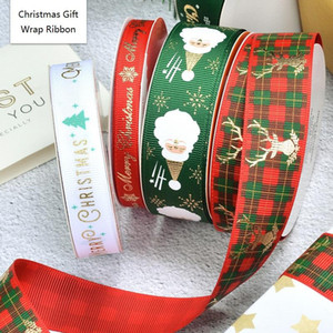 Navidad del papel de regalo Cintas 100 yardas / rollo grosgrain cintas de Navidad de Santa muñeco de nieve de bricolaje cinta de costura del DHD747 Wrap