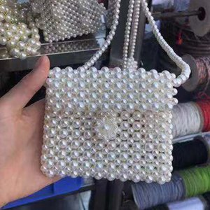 Küçük flowerPearl Boncuklu cep telefonu el yapımı dize ins çanta Paris Süper yangın çocukların küçük kare cep telefonu çantası
