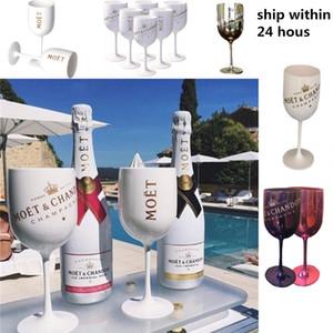 Cocktail Party Wine 2pcs Champagne Coupes Vidro Moet Champagne Flutes Galvanização Wine Cup Cálice Electroplated Plástico Cups LJ200821
