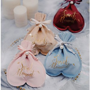 """New Stamping """"sweet Moment"""" Heart Flannel Gift Box Chocolate Candy Box Wedding Favor Boxes Baby Shower Festival Party Decoration"""