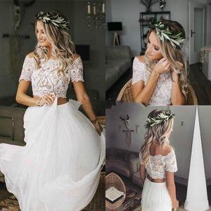 2021 Stylish Country Two Piece Wedding Dresses Boho Crop Top Lace Bateau Neckline Chiffon Short Sleeve Button Back Cheap Bridal