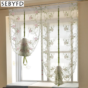 Peony Flower Embroidered Pattern Tulle Curtain , Sheer Curtains Window Curtain for Bedroom Living Room Window Treatments Decorative Y200421