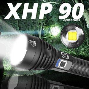 최고 루멘 가장 강력한 XHP 90 장거리 XHP70.2 LED 전술 줌 토치 라이트를 사용하여 26650 배터리 하락 선박