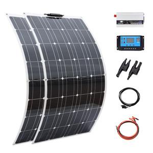 오프 그리드 태양 전지 패널 200W 플렉시블 태양 전지 패널 시스템 12V 배터리 충전기 단결정 셀 1000W 홈 시스템 키트