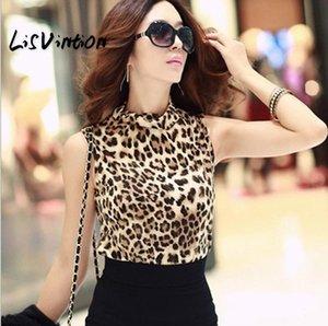 LisVintion Donna Leopard chiffon camicetta superiore multi-colore di stampa camice della signora Casual maniche camicette Blusas Femininas