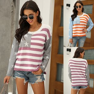 Autumn and Winter New Foreign Trade Womens European and American Casual Stripe Spell Color Pullover US Flag off-Shoulder Sweater