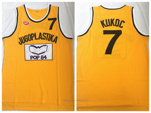 Movie Version Basketball Jersey Jugoplastika 7 Kukoč Sticken Außensport Hip-Hop Oulture Film POP 84 Yellow 2020 S-3XL
