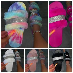 Zapatos de Bling del brillo plana Mujer del arco iris de colores de las mujeres Zapatillas peludo piel de la mujer Diapositivas mujeres al por mayor de la gota libre 2020