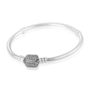 Authentic 925 Sterling Silver Snake Charm Bracelets For Women with Crystal Micro Pave Clip Clasp Fits European Beads PD7