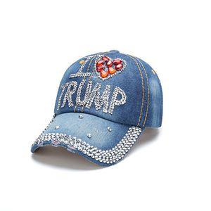 دونالد ترامب الدينيم كاب البيسبول في الهواء الطلق أحب ترامب 2020 الرياضية حجر الراين قبعة مخطط USA العلم كاب سنببك FWF807