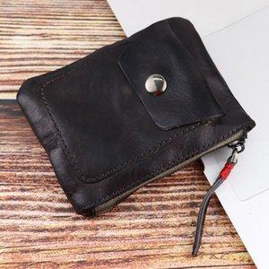 Genuine Leather Coin Purse Vintage Mini Zipper Wallets Case Storage Bag Card Holder Pocket for Men Women