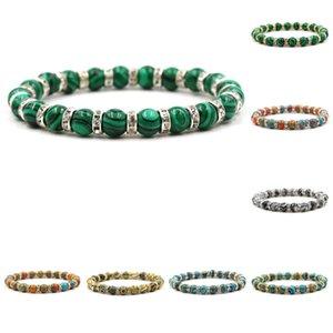 hermosa piedra malaquita Mujeres del arco iris del encanto del regalo de cumpleaños pulsera de piedra pulsera de perlas
