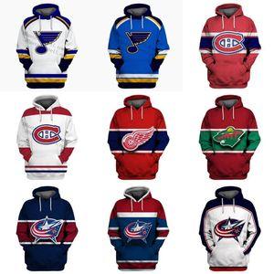Herren Womens Jugend Detroit Rote Flügel St. Blues Montreal Canadiens Columbus Blau Jacken Minnesota Wild Stickerei Hoodies Jerseys Jeder Name