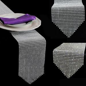 1pcs Gold Silber Diamant-Ineinander greifen Tischläufer Kristallrhinestone-Band Bling Sparkly-Verpackungs-Hochzeit Weihnachtsdekoration für Haus